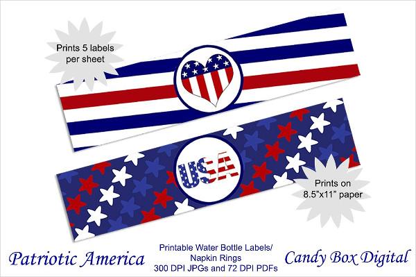 Patriotic America Water Bottle Label Template