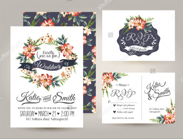 Flower Pattern Wedding Card Template