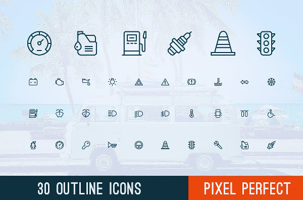 Perfect Outline Auto or Car Icons
