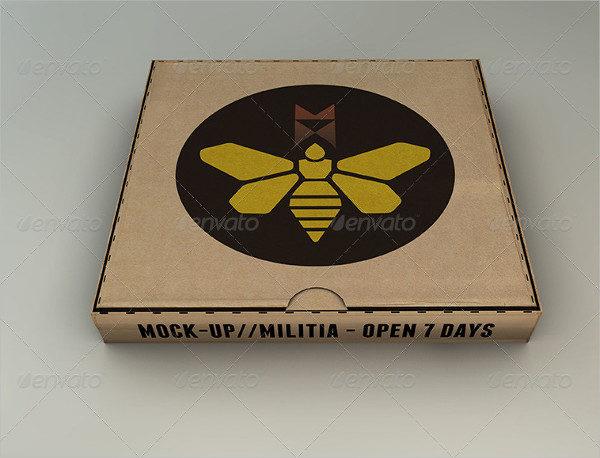 Plain Cardboard Box Mockup for Pizza