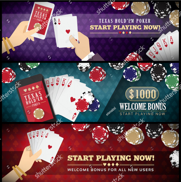 Poker Banner Set with Smartphone