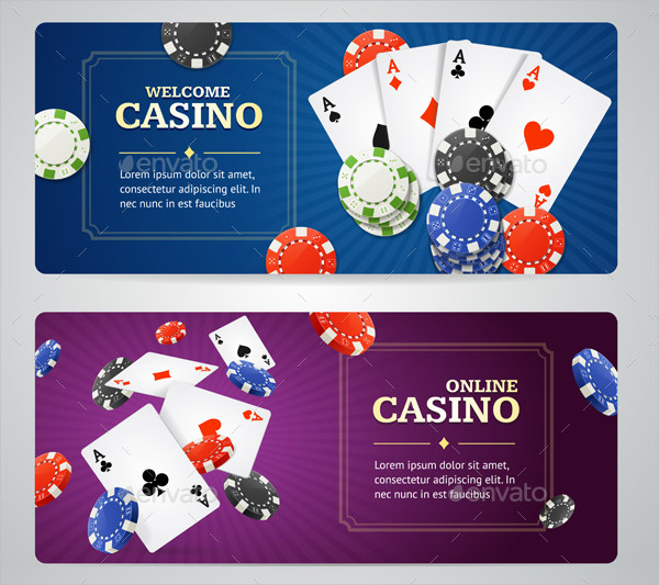 Poker Casino Banner Set with Cards