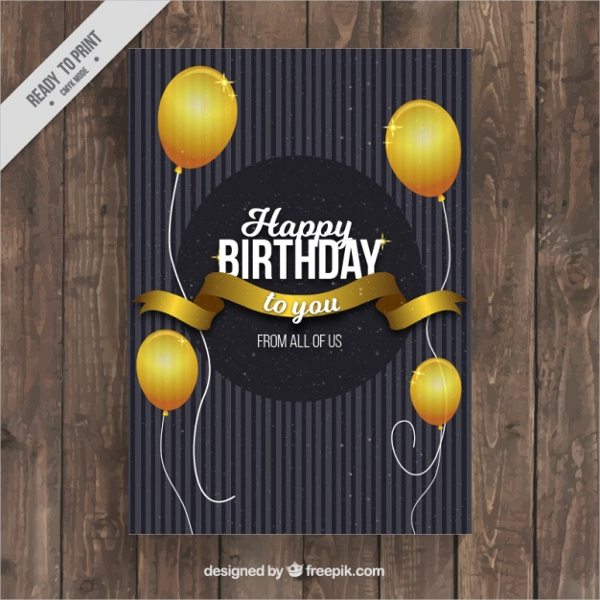 Elegant Birthday Card with Golden Globes Free