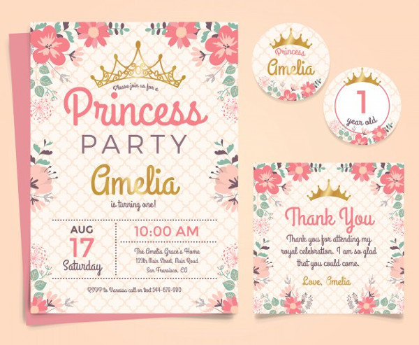 Princess Birthday Invitation Free Vector