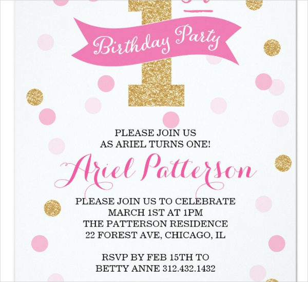 First Birthday Princess Card Template