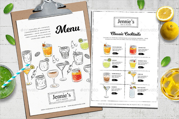 Print Ready Cocktail Menu Templates
