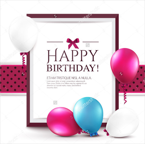 Realistic Birthday Invitation Card Template