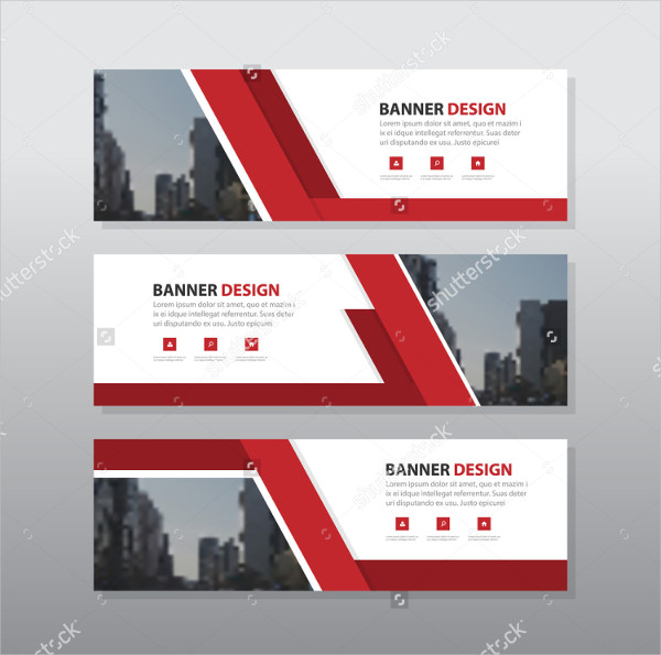Red Abstract Corporate Business Banner Design