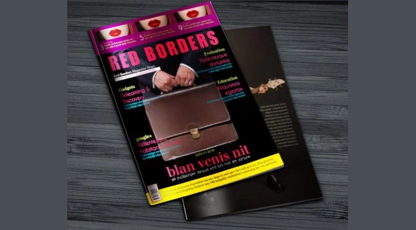 Free Red Border Business InDesign Magazine