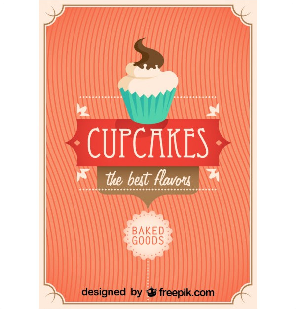 Retro Cupcakes Poster Design for Birthday Free
