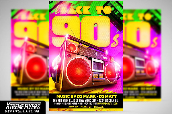 Retro Disco 90s Flyer Templates