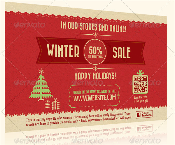 Retro Holiday Sale Postcard or Flyer
