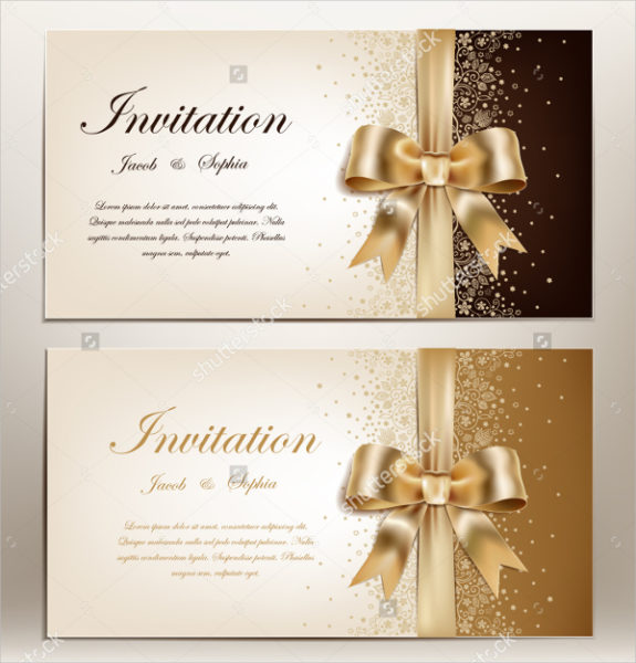 Golden Ribbon Wedding Card Template