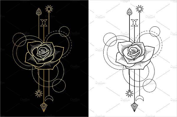 Rose Tattoo Seamless Patterns