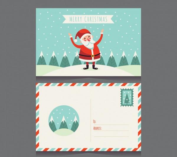 Santa Claus Christmas Postcard Free Vector