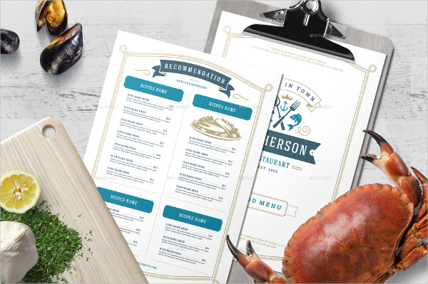Printable Seafood Menu Template