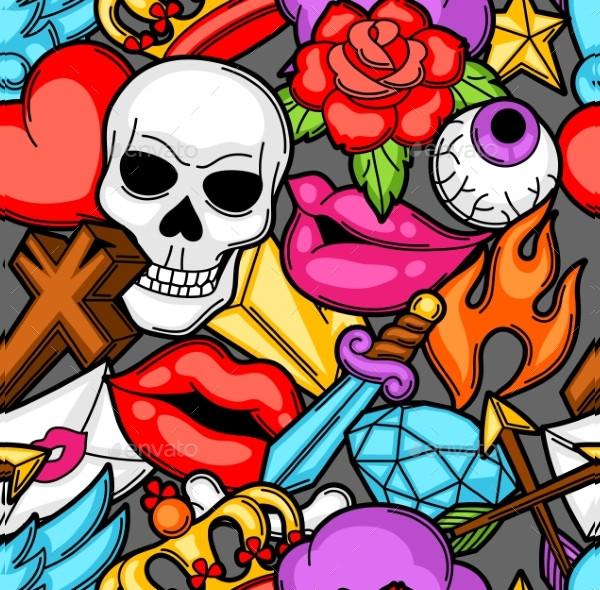 Seamless Pattern With Retro Tattoo Symbols