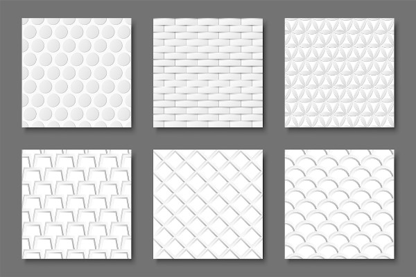 Seamless White Geometric Textures Collection