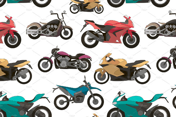 Motorcycle Icon Set Pattern Vector