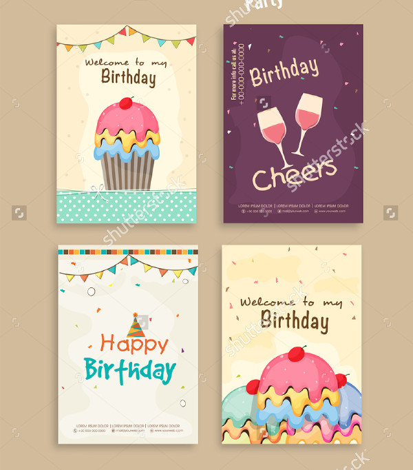 Set of Birthday Party Flyer Templates