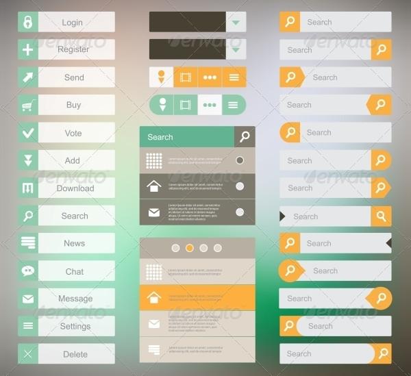 Set of Flat Design Buttons Download