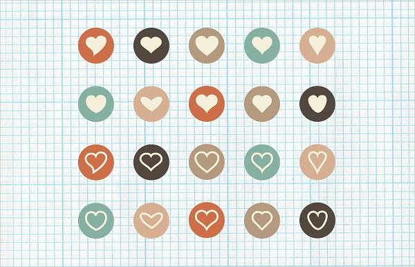 Set of Flat Heart Icons