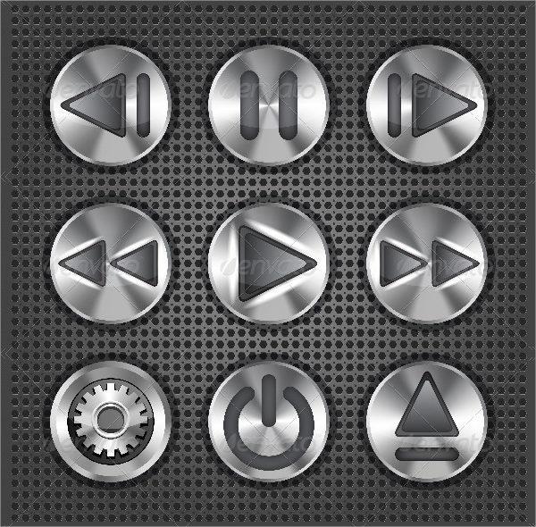 Set of Stylish Multimedia Metallic Buttons
