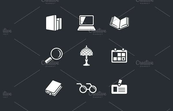 Simple Library Icon Set