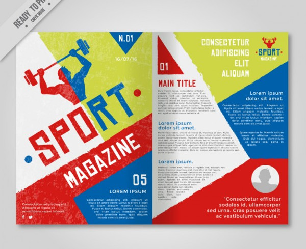Sport Magazine with Geometric Shapes Free Vector