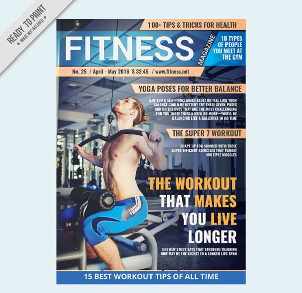 Sport Magazine Template of Fitness Free