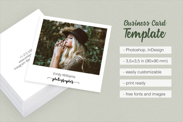 Square Photographer Business Card Template