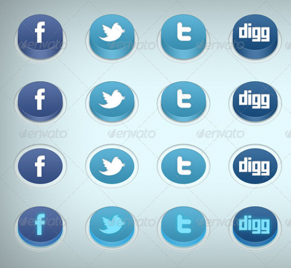 Stylish 3D Social Media Buttons