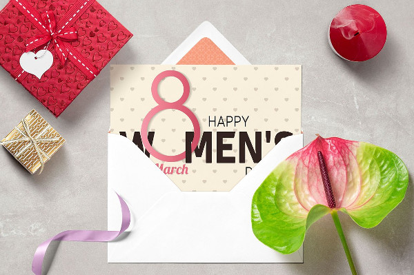 Stylish Women's Day Greeting Card Vector