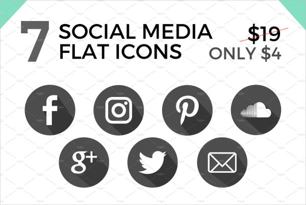 7 Social Media Flat Icons or Buttons