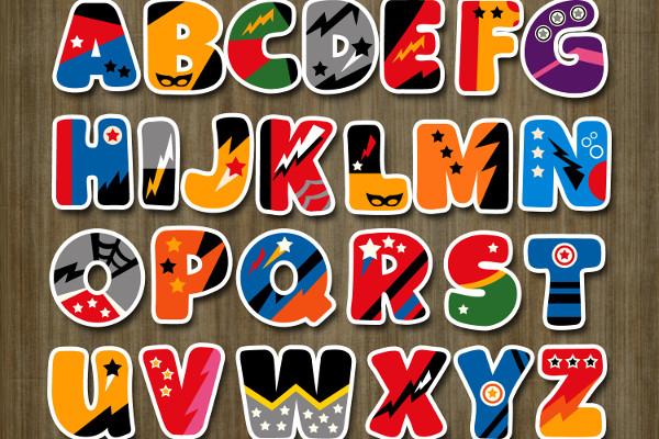 Superhero Alphabet Uppercase Letters Graphic Illustrations