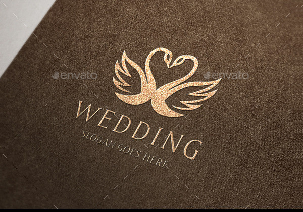 Swan Wedding Crest Logo Template