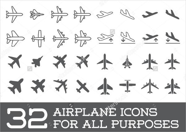 32 Airplane Icons Set