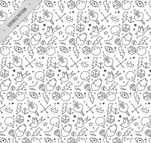 Tattoo Pattern in Black and White Free Vector