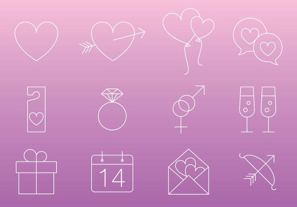 Thin Line Love Icon Vectors Free