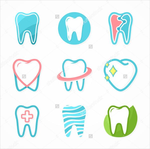Set of Tooth Logo Design Template