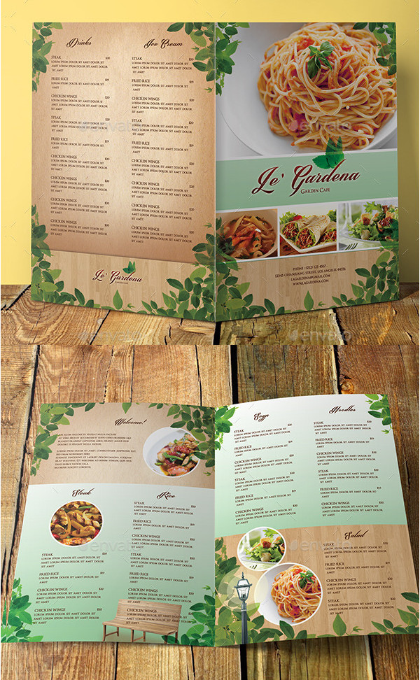 Garden Cafe Bifold Menu Template