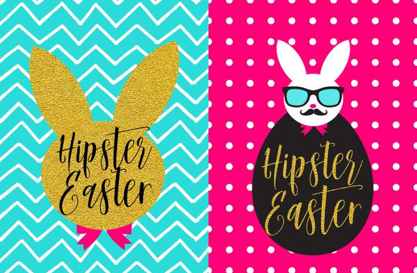 Trendy Bunny Hipster Easter Vector Poster Set Free