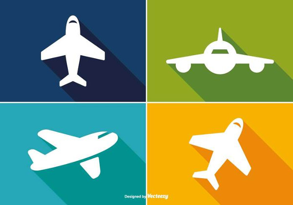 Trendy Long Shadow Airplane Icon Set Free