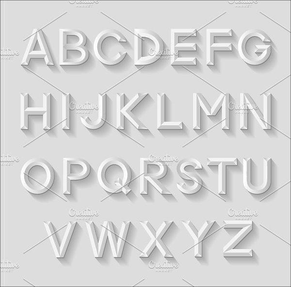 Set of Decorative Emboss Alphabet Uppercase Templates