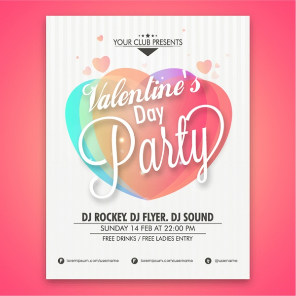 Valentine's Party Poster Design Free