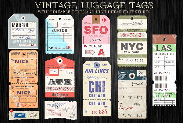 Vector Customizable Luggage Tag Templates