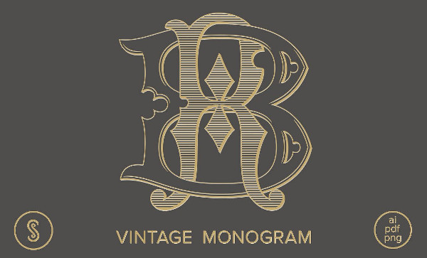 Vintage Monogram Wedding Logo Template
