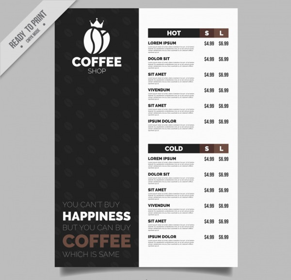 Vintage Coffee Shop Menu Template Free