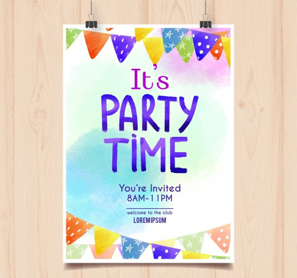 Watercolor Birthday Party Poster Free Download