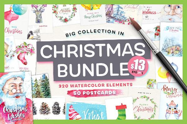 Watercolor Holiday Postcards Bundle